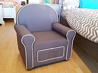 Grey Upholstered Chair with Drawer