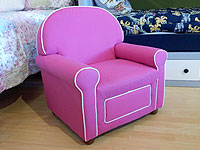Pink Upholstered Chair with Drawer